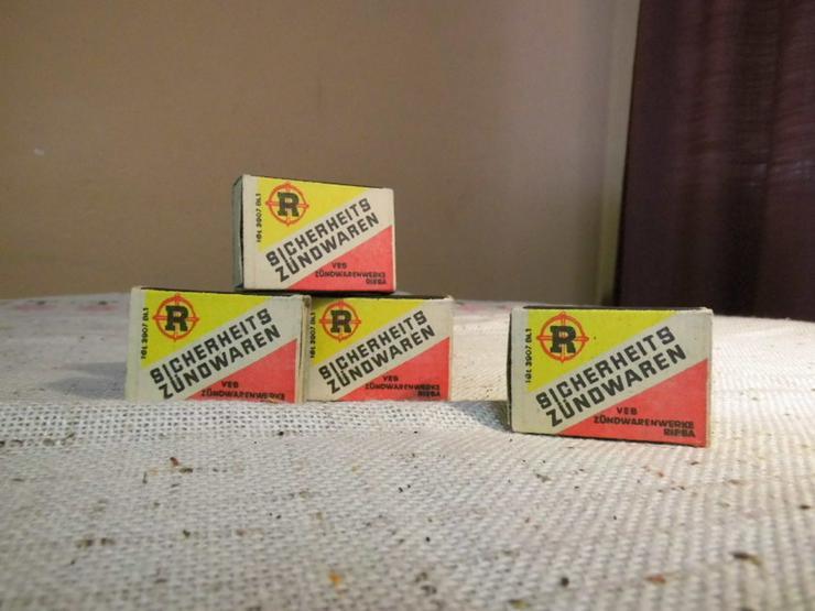 Vier Schachteln Streichhölzer aus der ehemalig