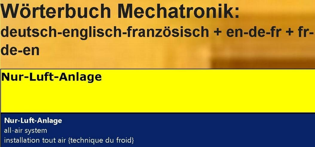 Bild 2: Woerterbuch franzoesisch: Kaelte-Klima-Sanitaer