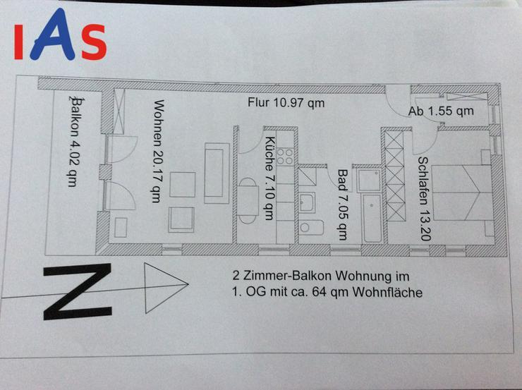 Bild 2: Moderne 2-Zi.-Wohnung mit Balkon in Lippertshofen, nicht weit zur AUDI, zu verkaufen!