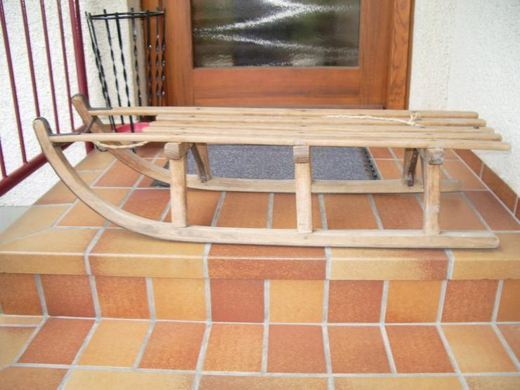 Holz-Schlitten-2 Sitzer-Alt und Gut- - Zubehör - Bild 1