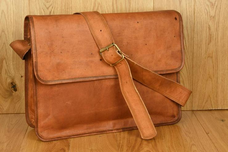 Vintage Ledertasche - Laptop- Umhängetasche