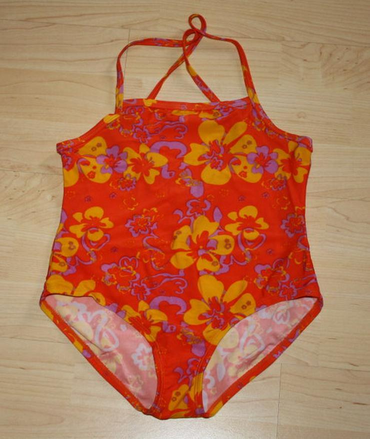 Mädchen Badeanzug Kinder Blumen orange 140 NEU