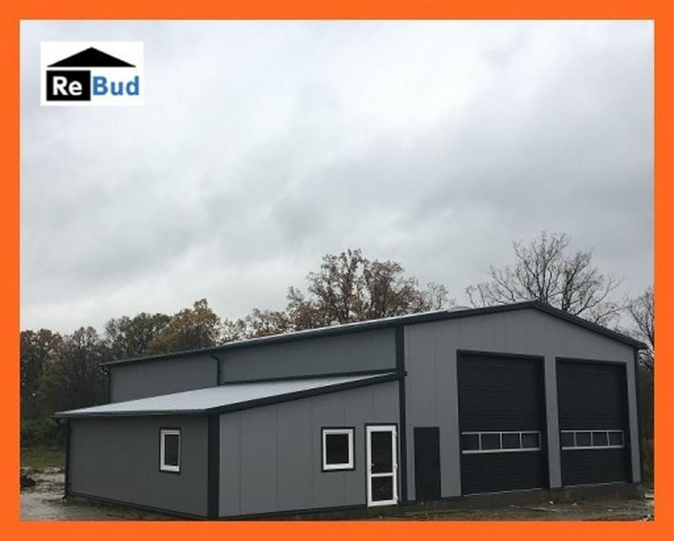 Stahlhalle Werkstatthalle Lager Logistikhalle Gewerbehalle mit einem Beuro
