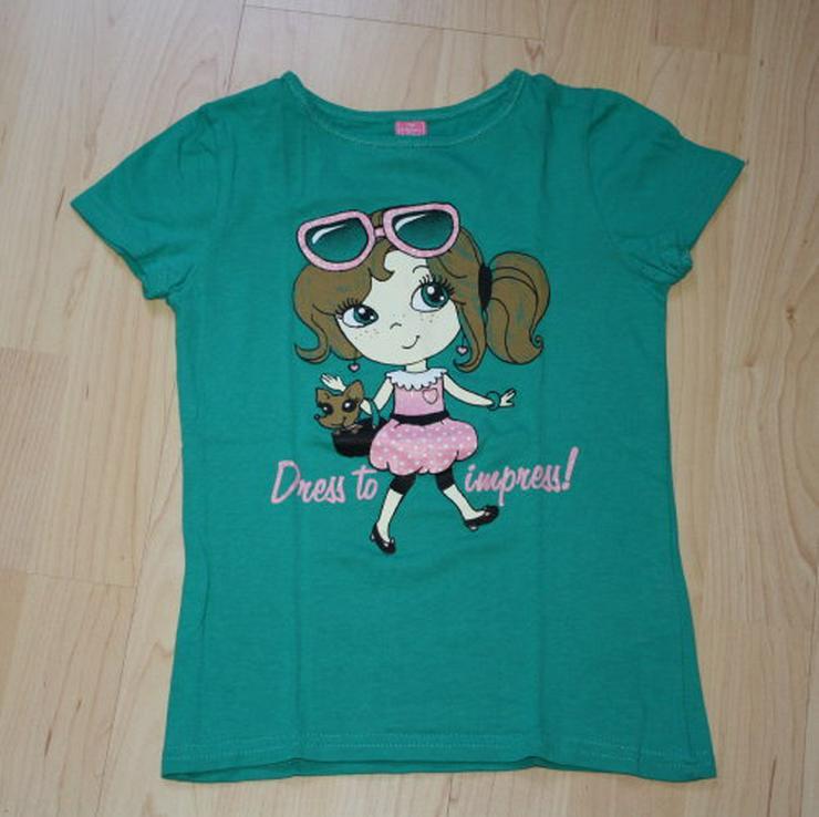 Mädchen Kurzarm T-Shirt Kinder Glitzer grün 116