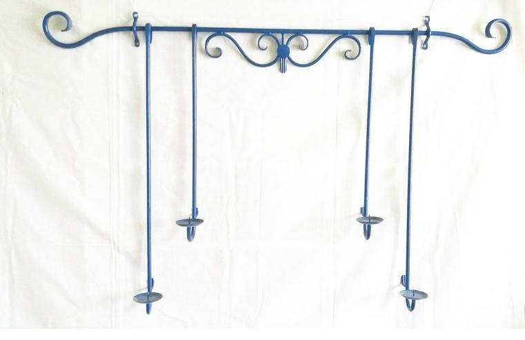 kerzenhalter für die wand mit 4 halter in blau