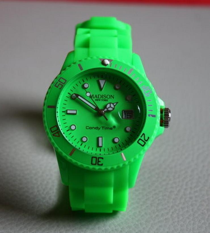 Madison Candy Time Silikon Armbanduhr Neongrün