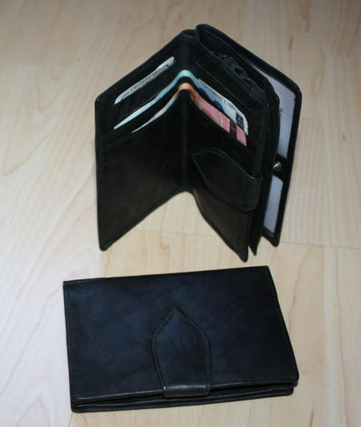 Damen Leder Geldbeutel Geldbörse schwarz NEU