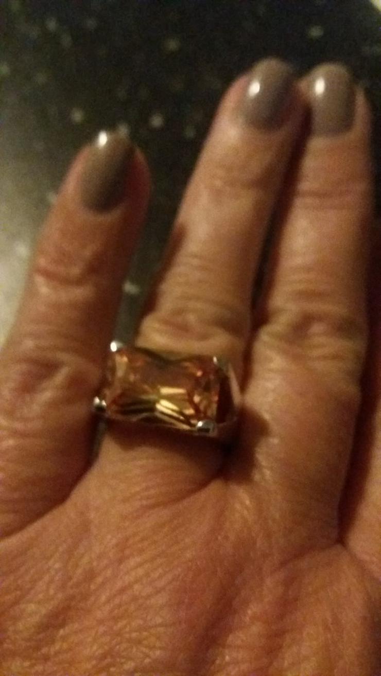 Massiver Silberring mit Farbstein Gr 18 - Ringe - Bild 1