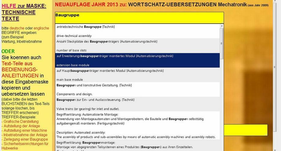 de-englisch-Uebersetzungen: Fach-Text-Suche