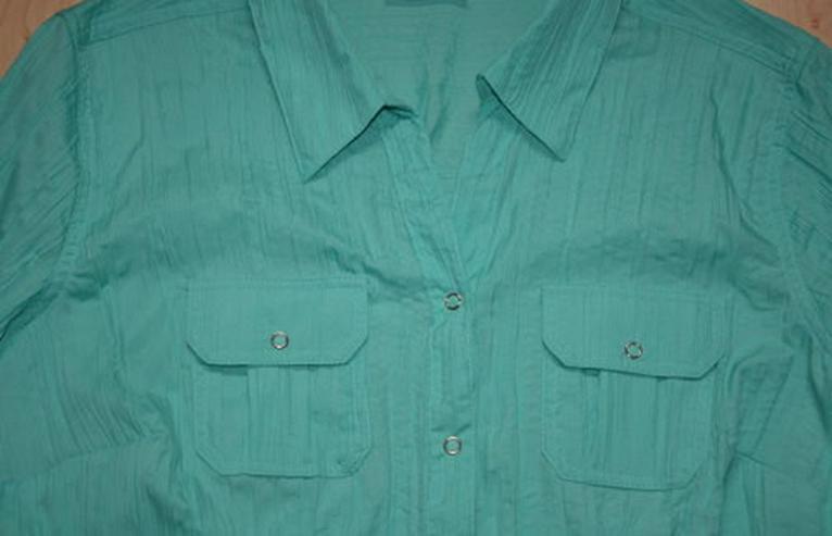 Bild 2: Damen Kurzarm Bluse Crinkle Crash türkis 40 M