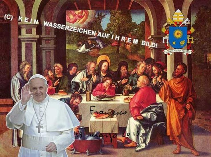 Seltenheit: PAPST FRANZISKUS beim Abendmahl.