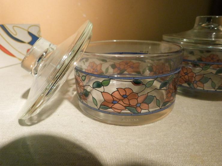 Bild 3: 2 Töpfchen mit Deckel aus Glas, Serie Tiffany