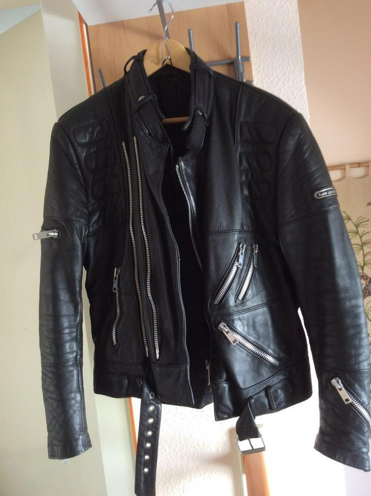 Motorradjacke Leder, schwarz