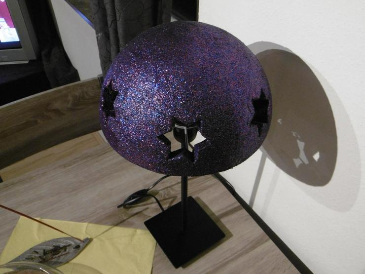 Bild 4: Tischlampe mit Sternenmuster,Unikat