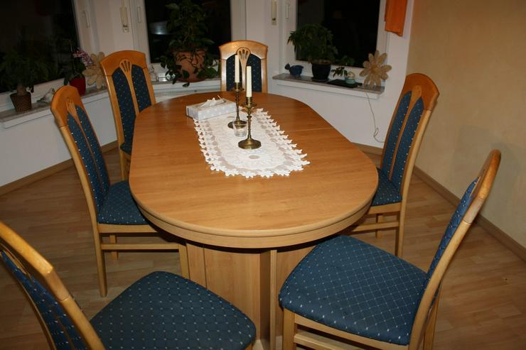 Bild 4: Esstisch buche mit 4 Einlagepletten + 6 Stühlen