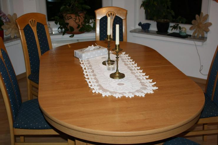 Bild 5: Esstisch buche mit 4 Einlagepletten + 6 Stühlen
