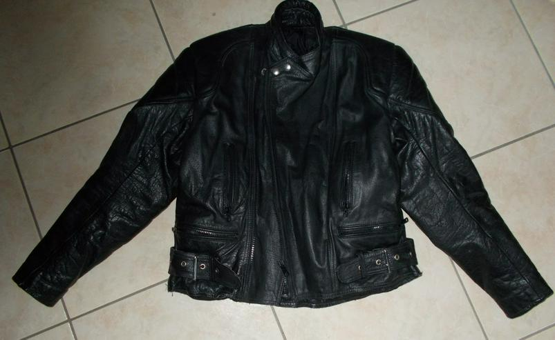 Schwarze Motorradlederjacke - Bild 1