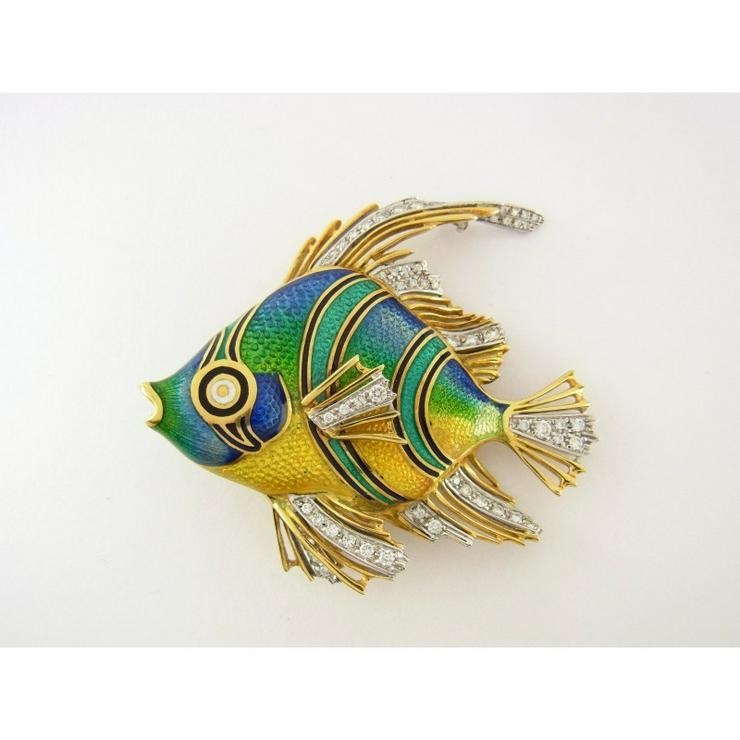 Fisch Anhänger 750 Gelbgold mit Diamanten