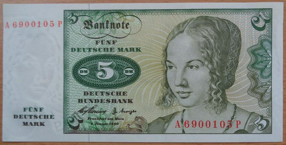 5 DM Banknote aus der 1. Serie vom 2. Jan. 1960 - Bild 1