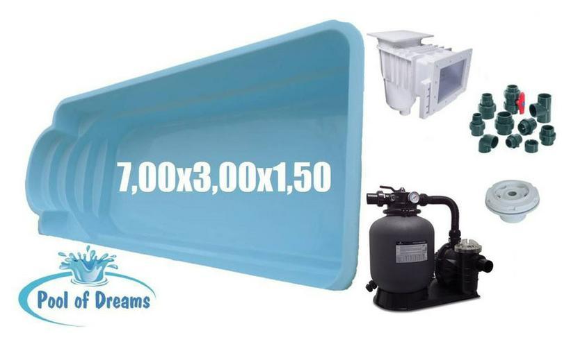 Polyester Pool 7.00x3.00x1.50m + Zubehör