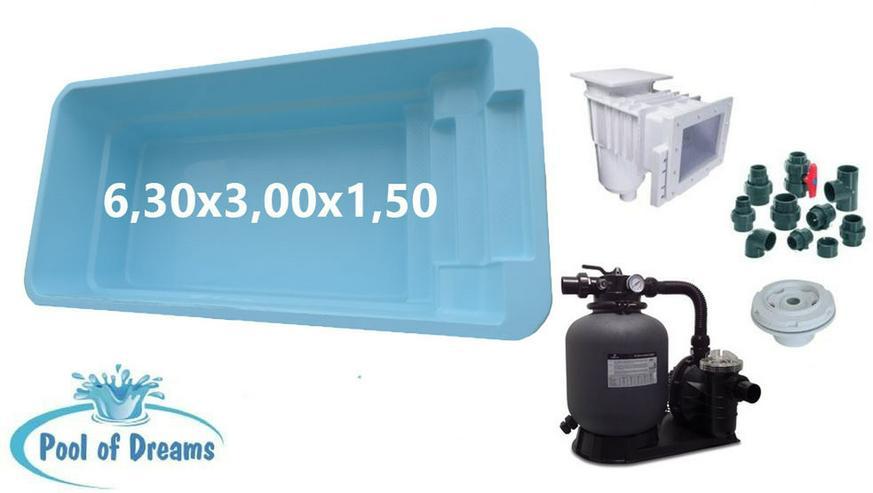 Polyester Pool 6,30x3,00x1,50 + Zubehör