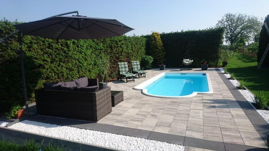 Polyester Pool 6.30x3.00x1.50m + Dach Schwimmbecken Schwimmbad Gfk