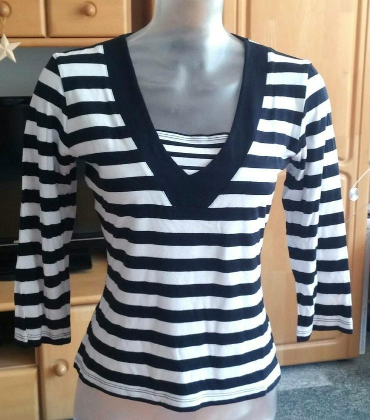 Damen Shirt Jersey gestreift Gr.S Schwarz/Weiß