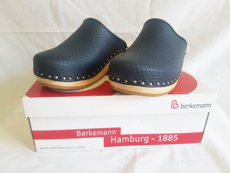 Bergemann Holz Clogs gr 44 blau leder unbenutzt