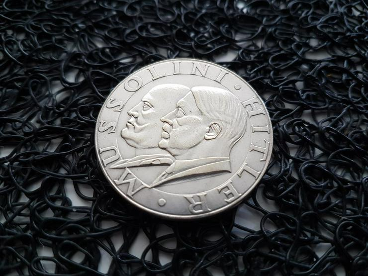 MUSSOLINI WW2 Drittes Reich Silbermünze Münze
