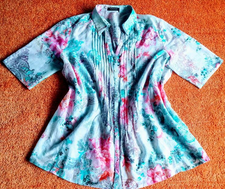 Damen Bluse Seide Sommer geblumt Gr.46 Apanage