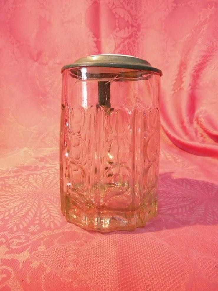 Bild 3: Antiker Glas Bierkrug mit Zinndeckel + Porzell