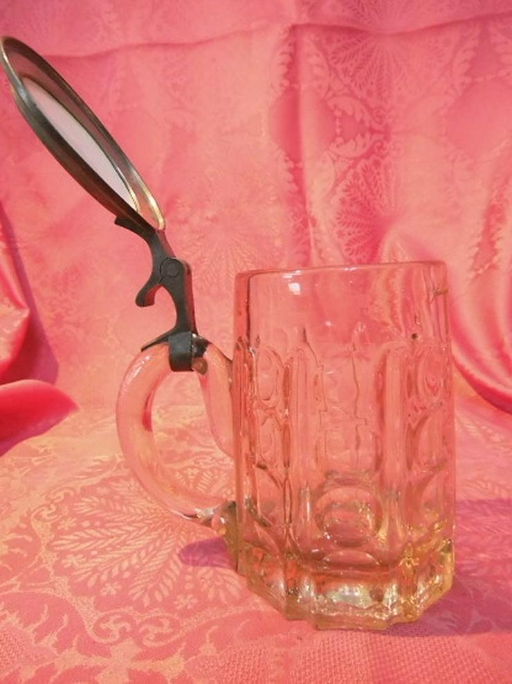 Bild 5: Antiker Glas Bierkrug mit Zinndeckel + Porzell