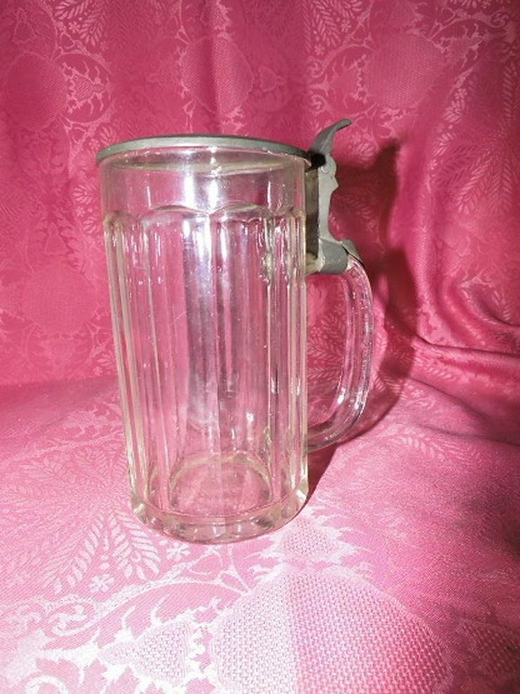 Antiker Glas Bierkrug mit Zinndeckel / Sächsis - Gläser - Bild 1