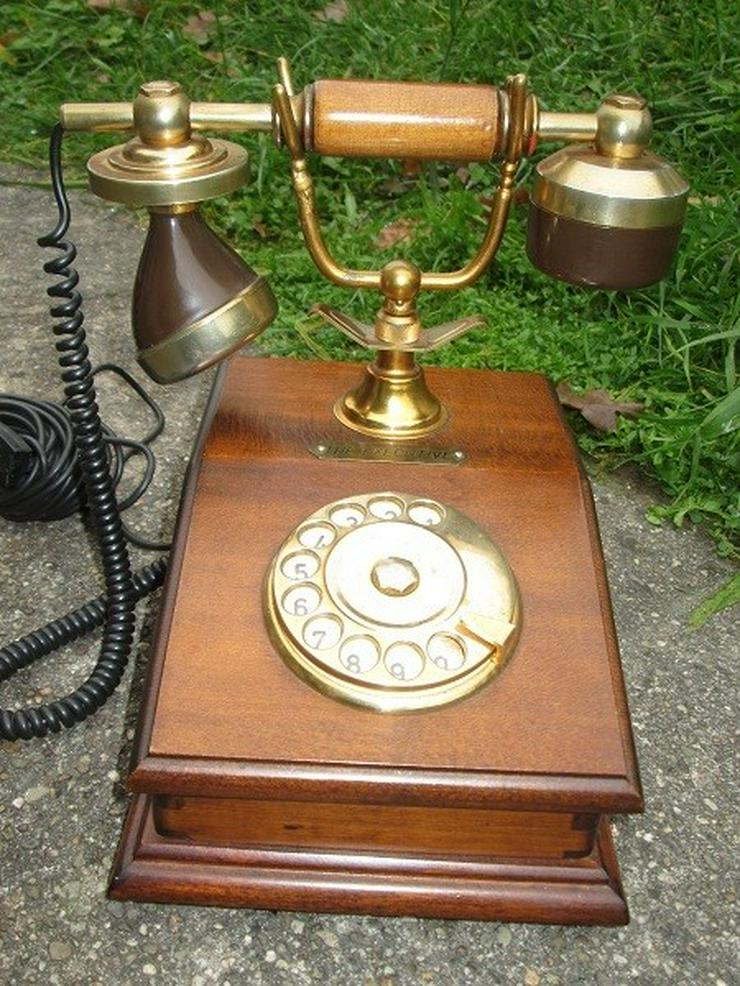 Telcer altes Holz Telefone Gold Plated 18K