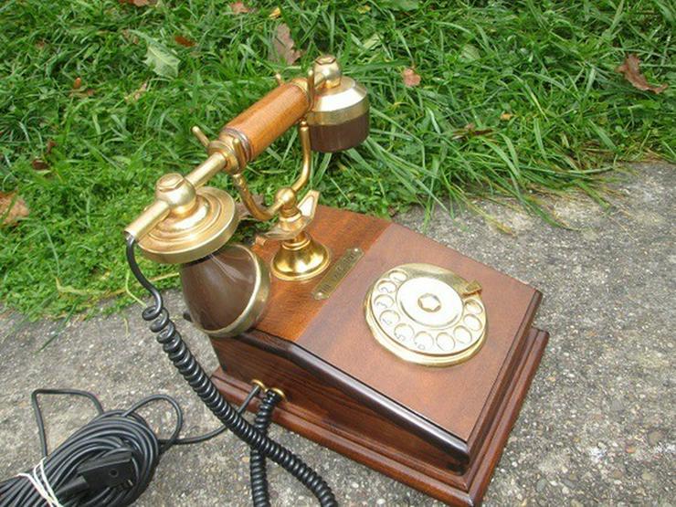 Bild 2: Telcer altes Holz Telefone Gold Plated 18K