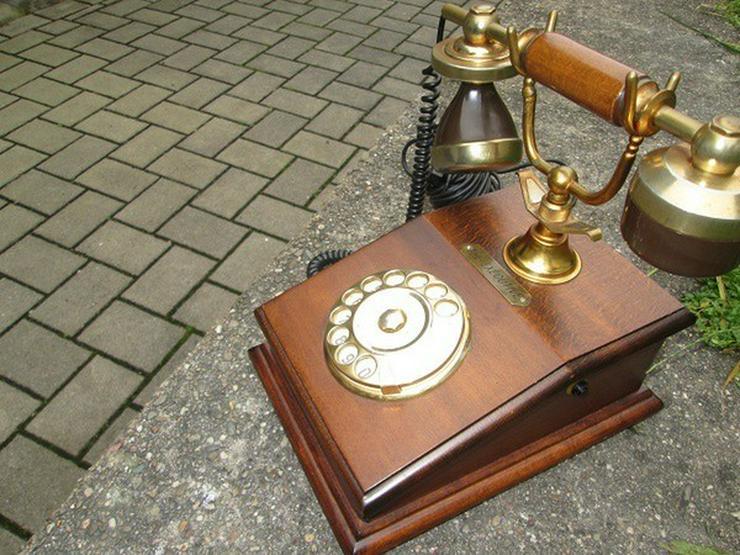 Bild 3: Telcer altes Holz Telefone Gold Plated 18K