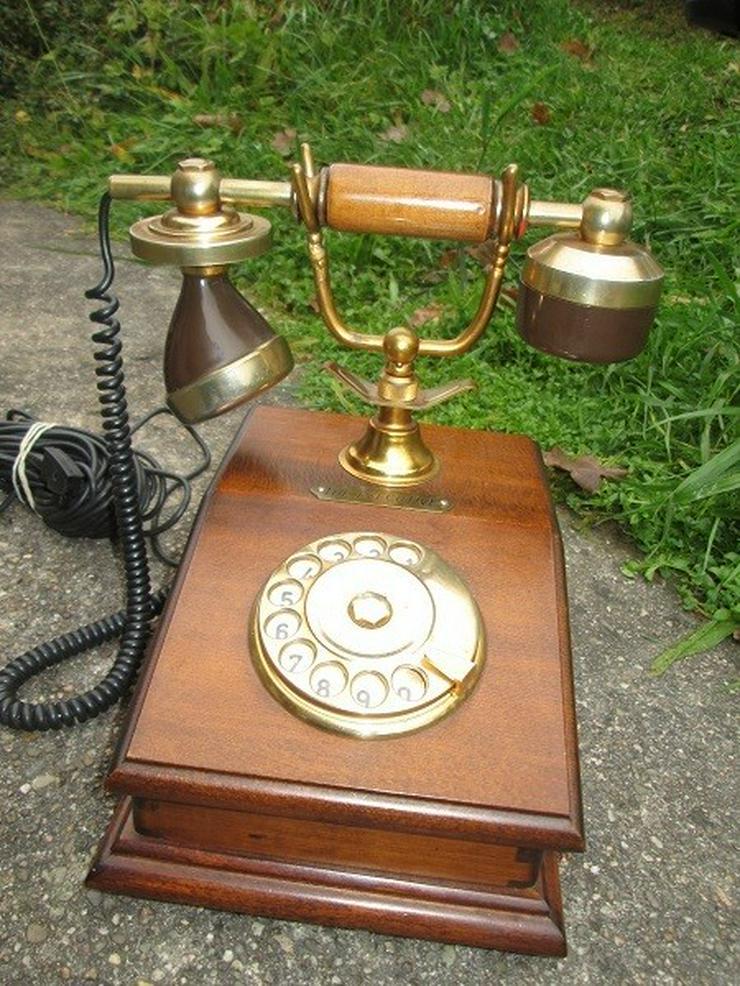Bild 4: Telcer altes Holz Telefone Gold Plated 18K