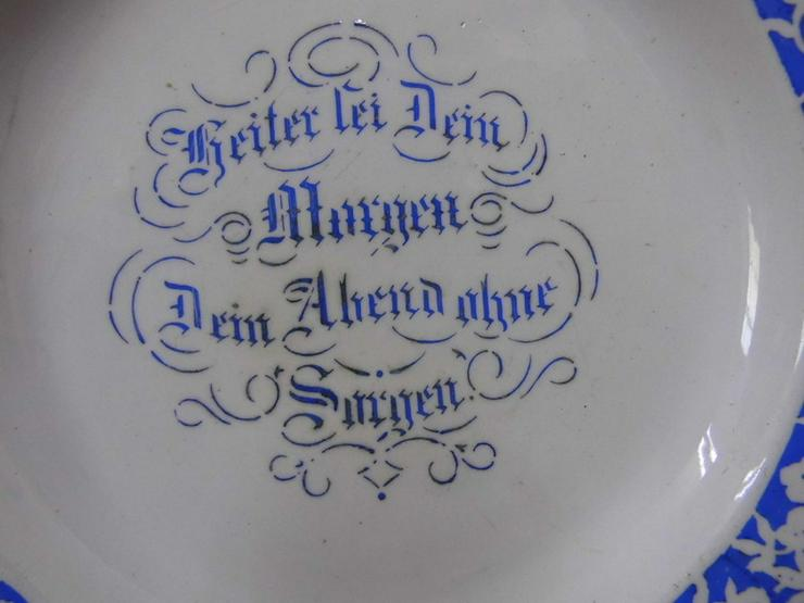 Bild 2: Antiker Jugendstil Teller / Keramik Spruchtell