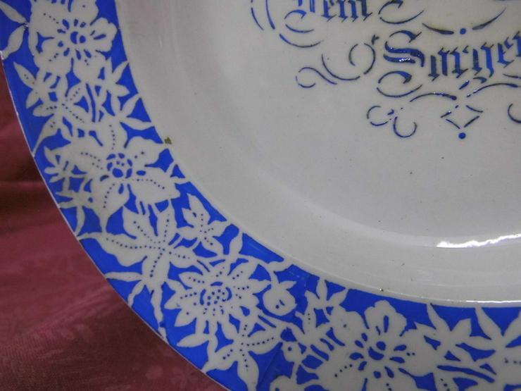 Bild 3: Antiker Jugendstil Teller / Keramik Spruchtell