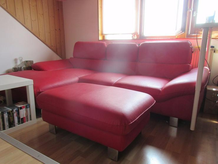Bild 2: Kunstledercouch/sofa mit Ottomane