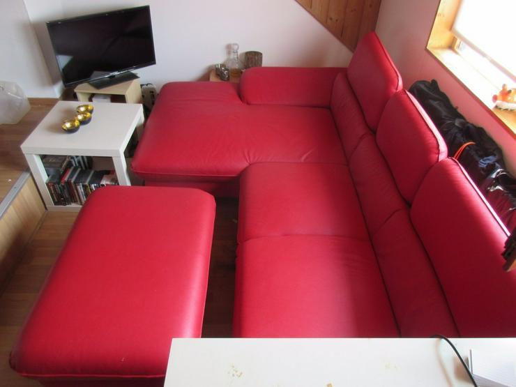 Bild 3: Kunstledercouch/sofa mit Ottomane