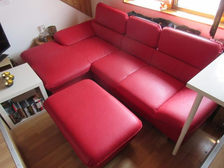 Bild 4: Kunstledercouch/sofa mit Ottomane