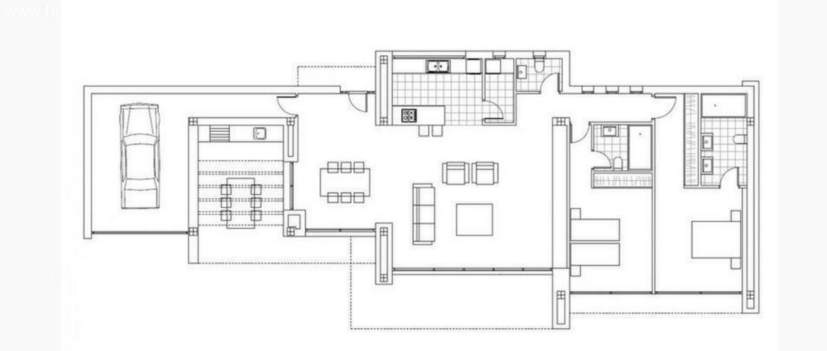 Bild 2: : moderne, 1 geschossige Luxus-Villa im Bauhausstil (ohne Grundstück)