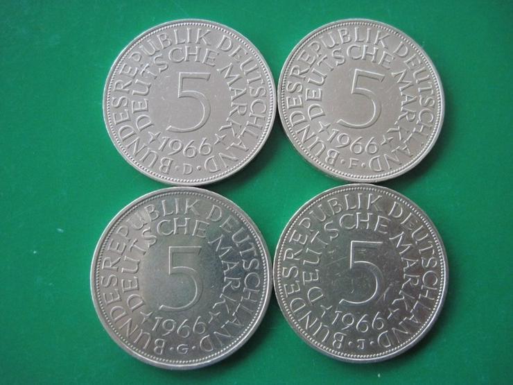 4 x 5 DM 1966 D F G J alte Mark , Silberadler