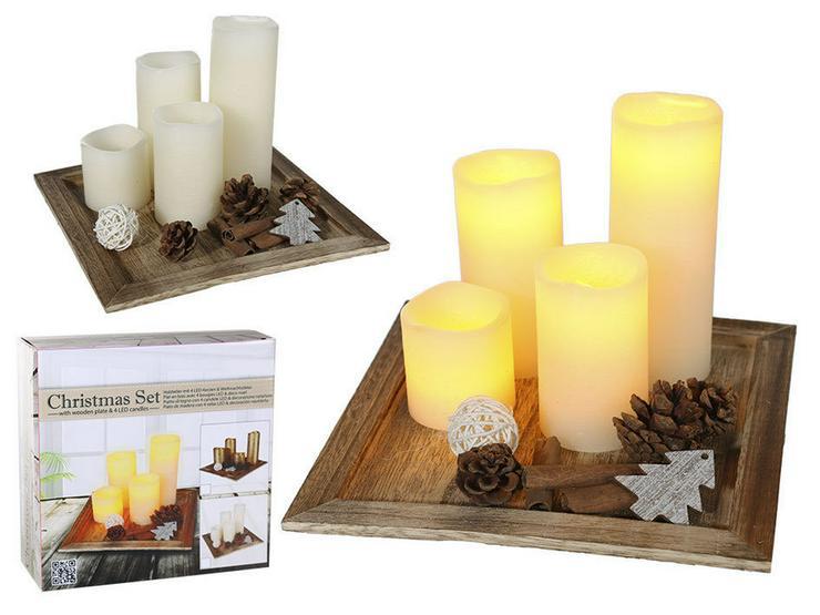 Weihnachtsdekoration mit 4 LED Kerzen - Weihnachtsdeko - Bild 1