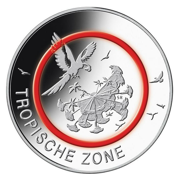 5x5 Euro Münzen Tropische Zone 2017 F und G