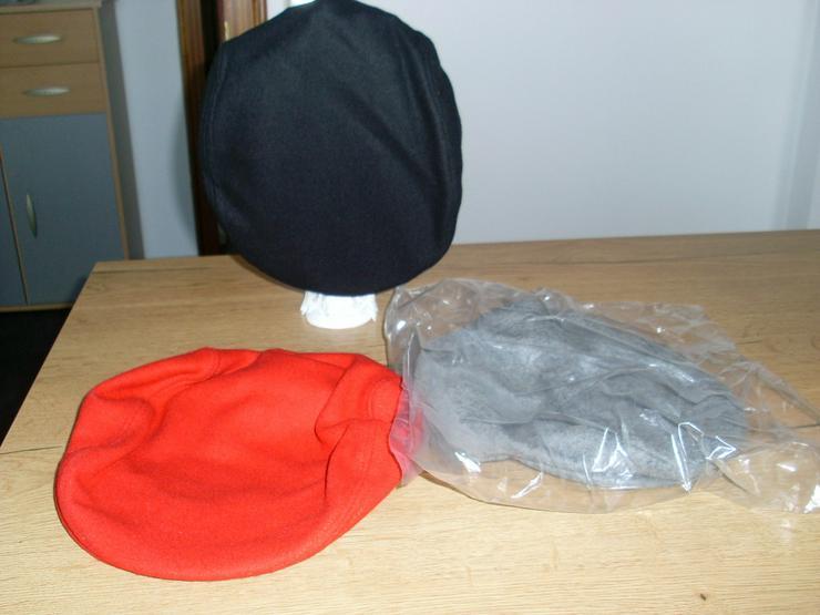 Flat- Caps, Schieberm Filz schwarz,rot,grau - Kopfbedeckungen - Bild 1