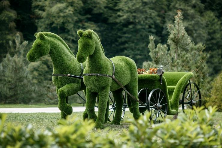 Bild 3: Deko Werbe Gartenfigur Pferdekutsche Topiary