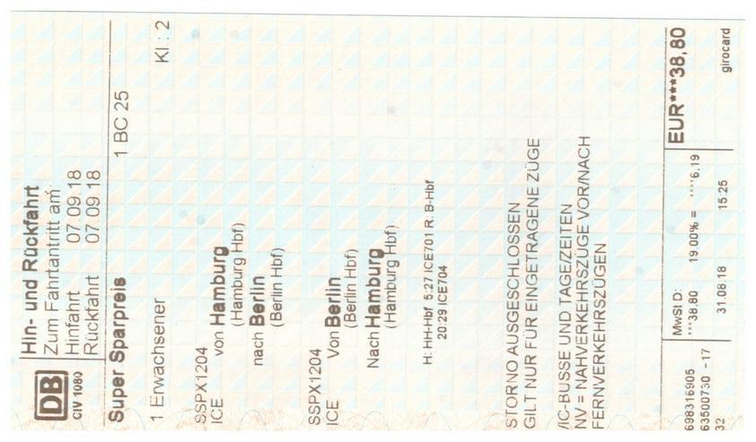 DB-Ticket, Hin- und Rückfahrt Hamburg - Berlin - Bahn & ÖPNV - Bild 1