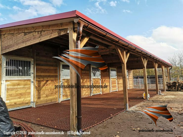 Pferdestall bauen, Aussenboxen, Pferdeboxen, Innenboxen, Stallungen, Stallanlagen, Weidehütte, Pferdeunterstand, Weideunterstand, Offenstall, Unterstand Fressgitter,